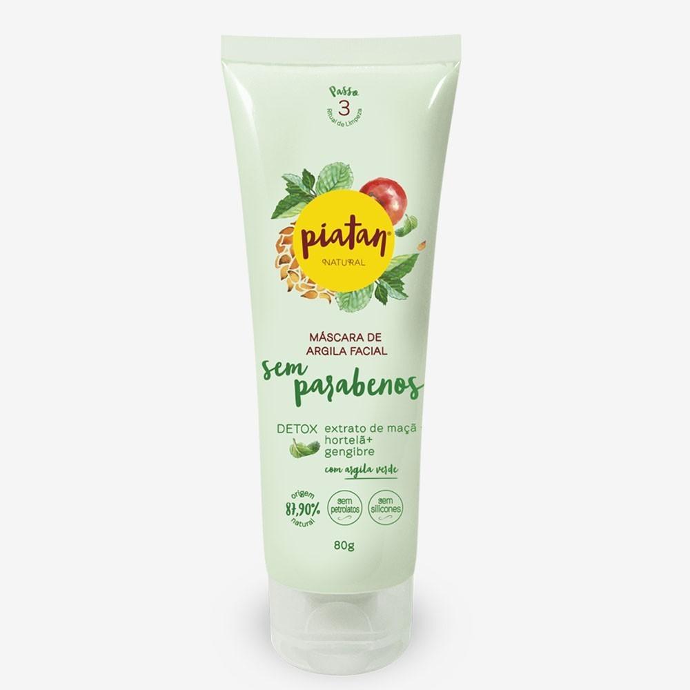 Mascara de Argila Verde Facial Piatan Detox Sem Parabeno - 80g