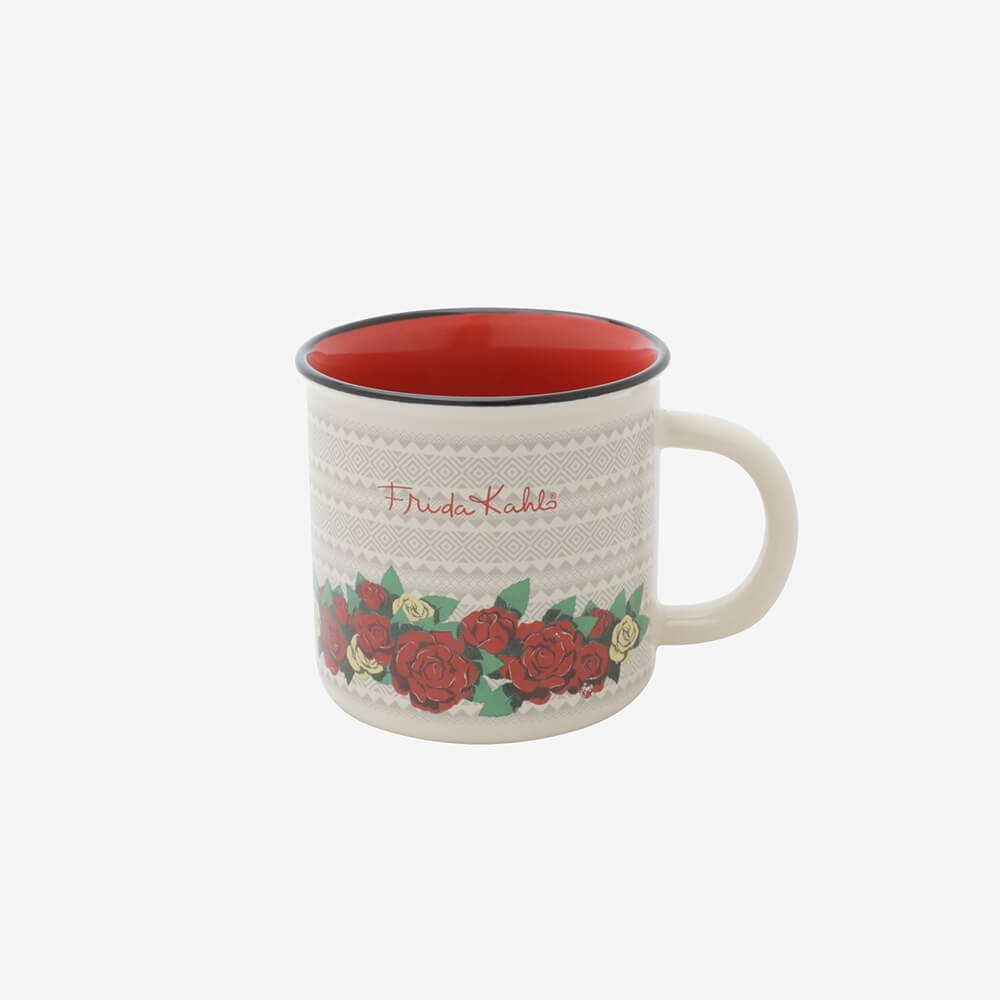 Mini Caneca Porcelana Frida Kahlo Geometric Flowers Branco - 220Ml