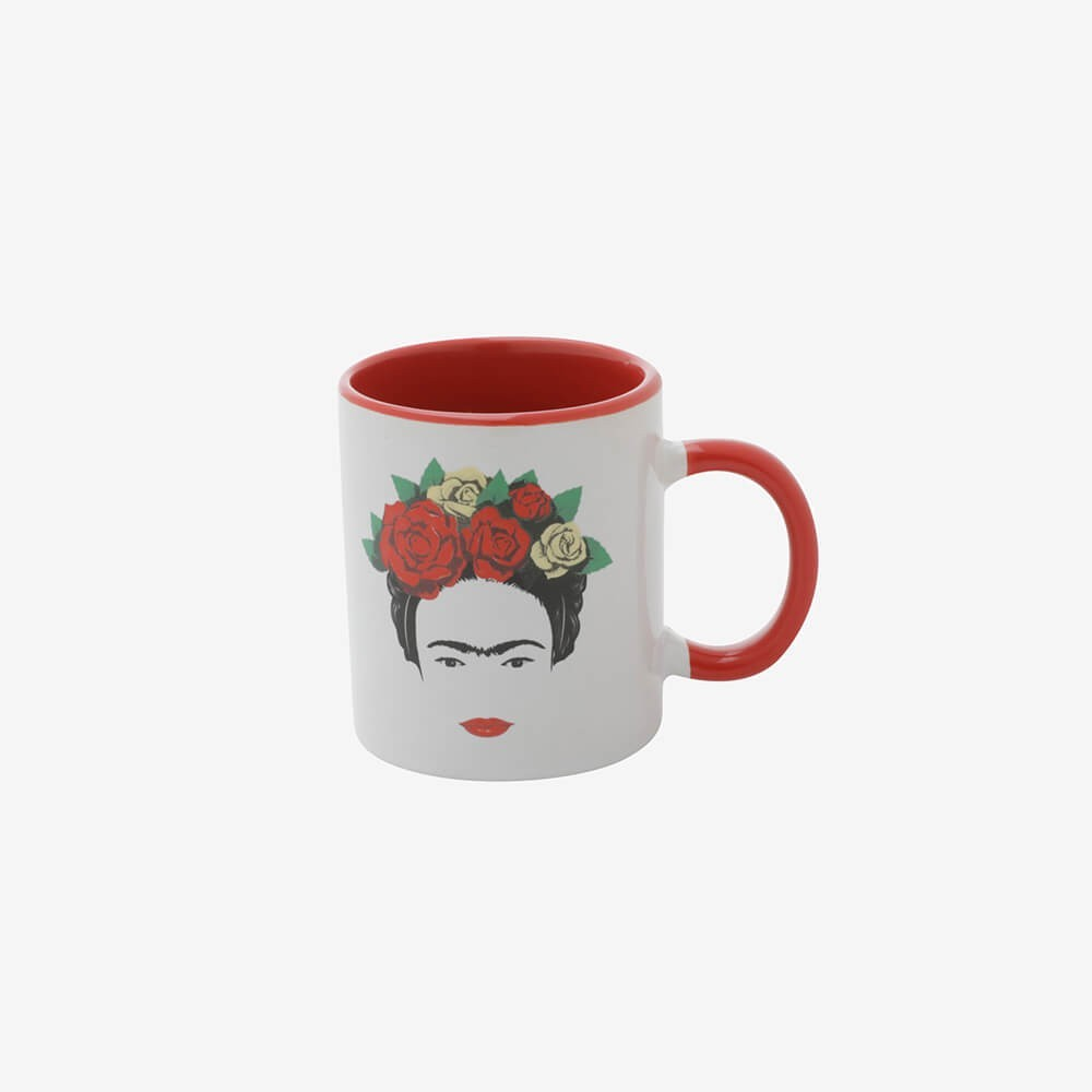 Mini Caneca Porcelana Frida Kahlo Head And Flowers Branco - 140Ml