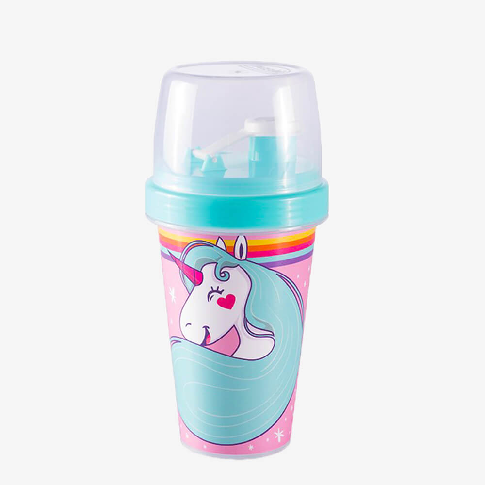 Mini Shakeira Azul E Rosa Unicórnio 320Ml - Plasútil