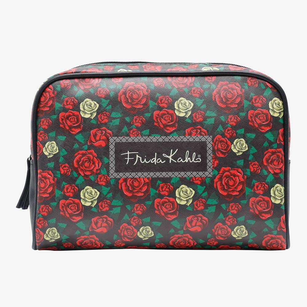 Necessaire Frida Kahlo Colored Flowers Preta