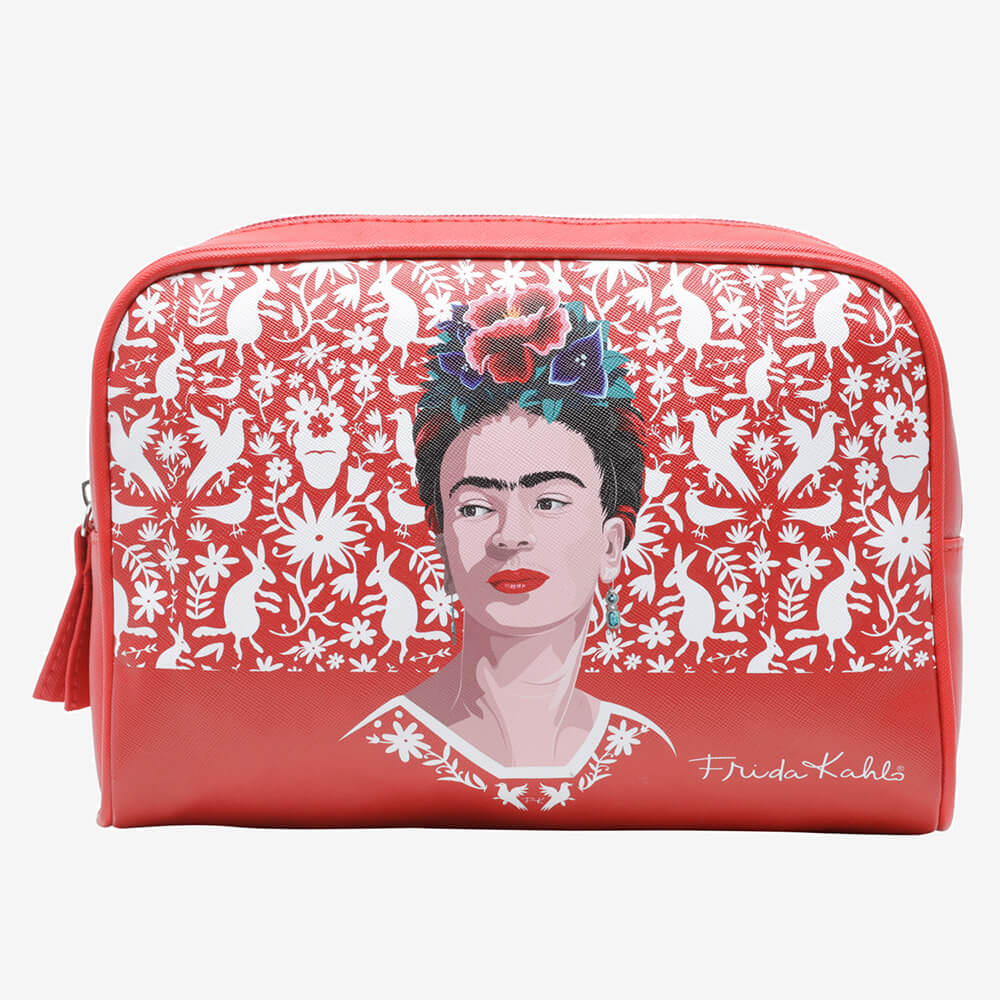 Necessaire Frida Kahlo Red Birds And Flowers Vermelha