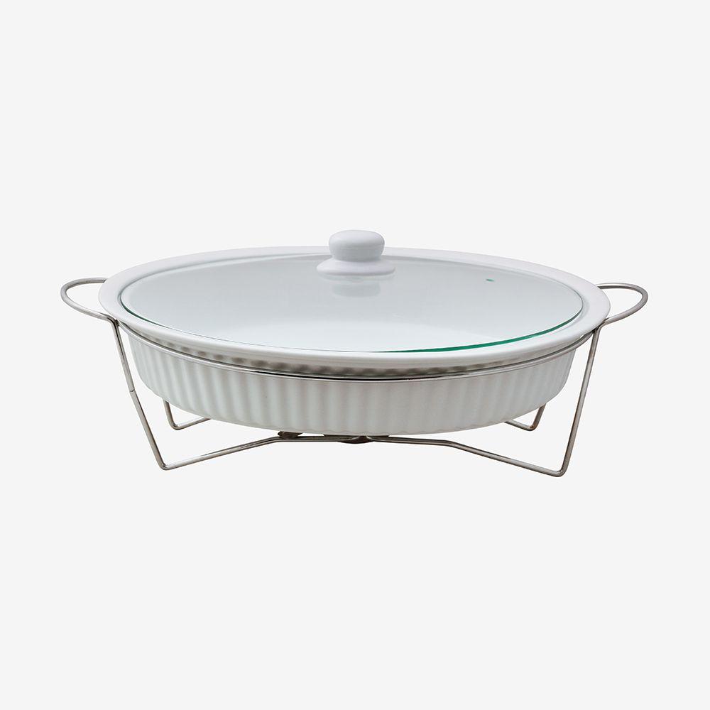 Rechaud oval grande de porcelana