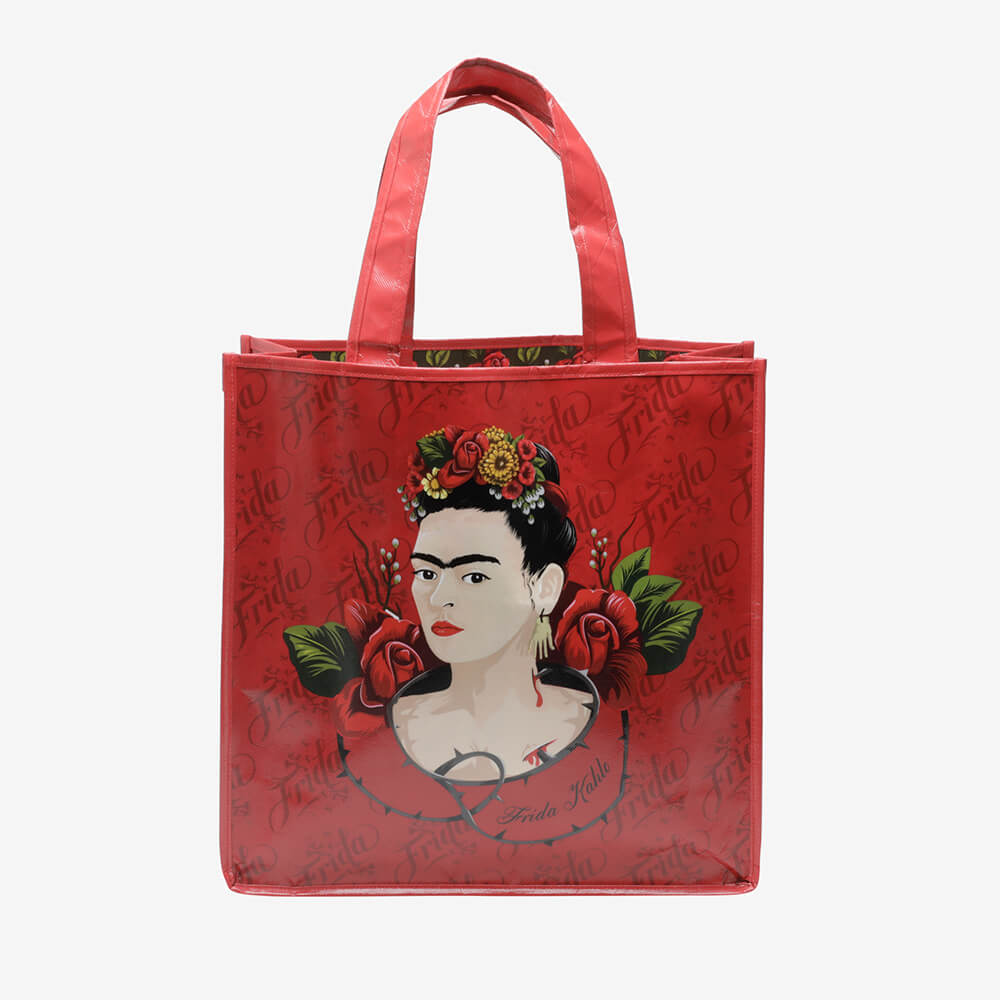 Sacola Market Frida Kahlo Red Roses Face Vermelho
