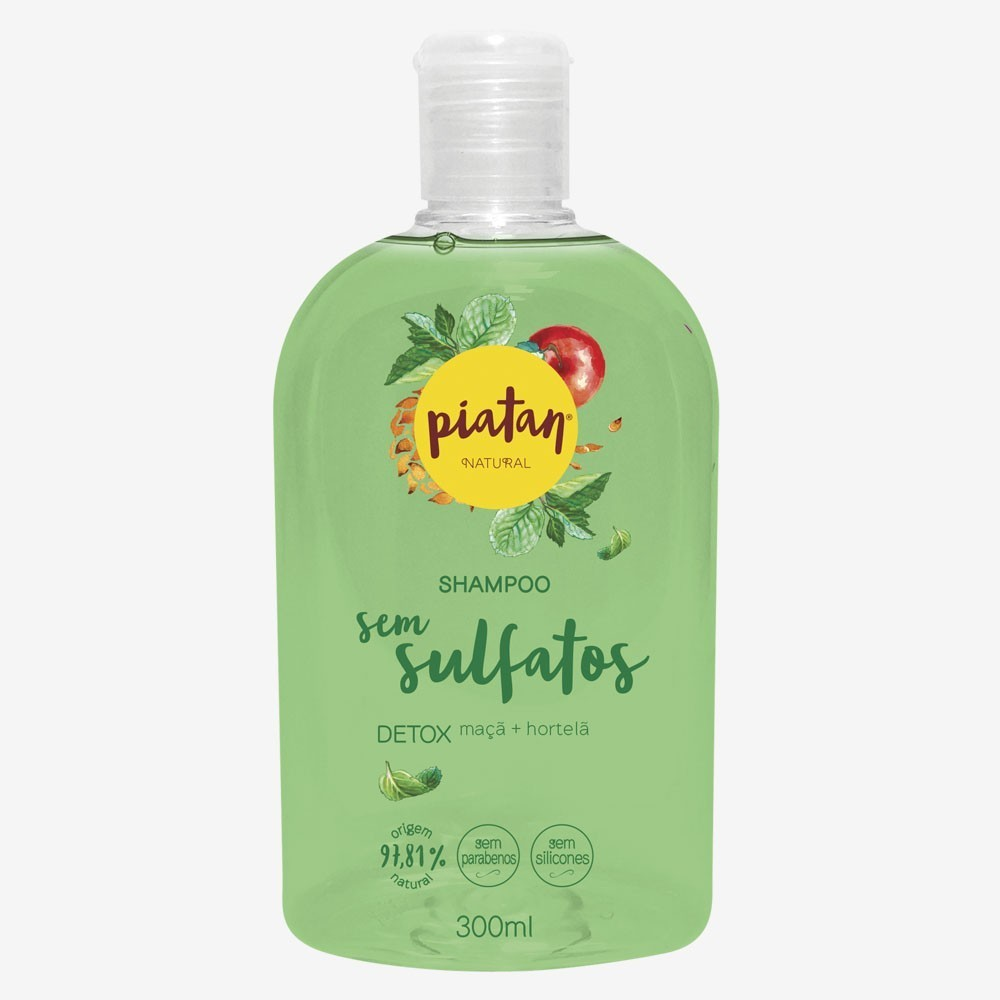Shampoo Natural Piatan Detox Sem Sulfatos - 300ml