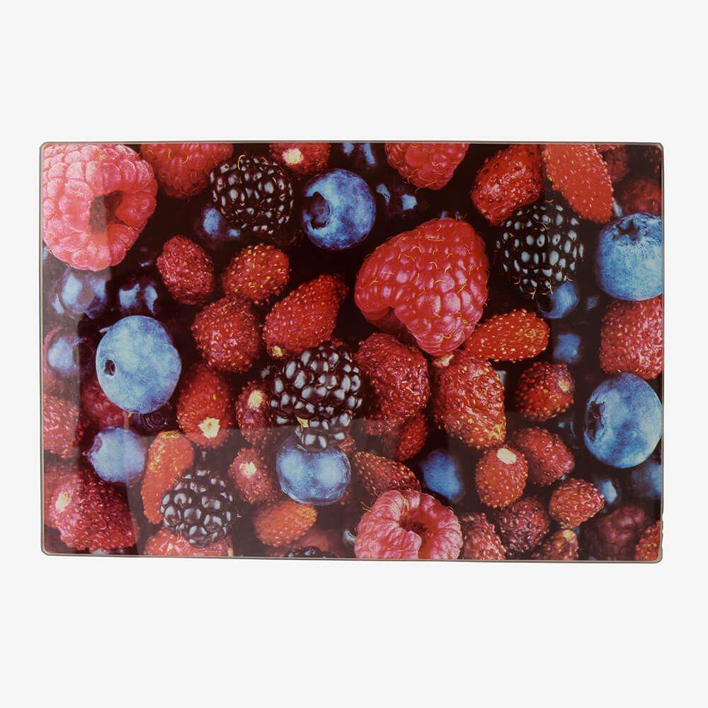 Tábua de vidro pequena Frutas Vermelhas