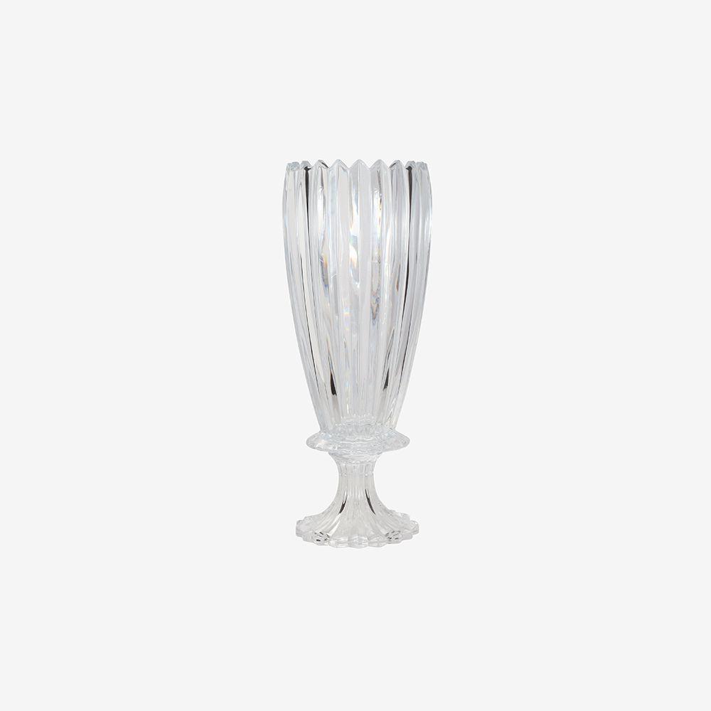 Vaso decorativo médio em vidro liso com pé - Noblesse