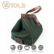 Bolsa Elétrica Voilà! Bag - Classic em Linho Importado Verde Musgo com Alças Tabaco