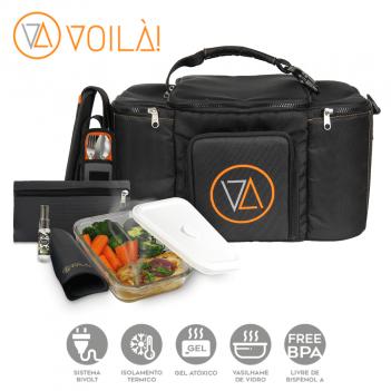 Mala Voilà! Bag - Gym Preta  3 refeições (Com TODOS os Acessórios)
