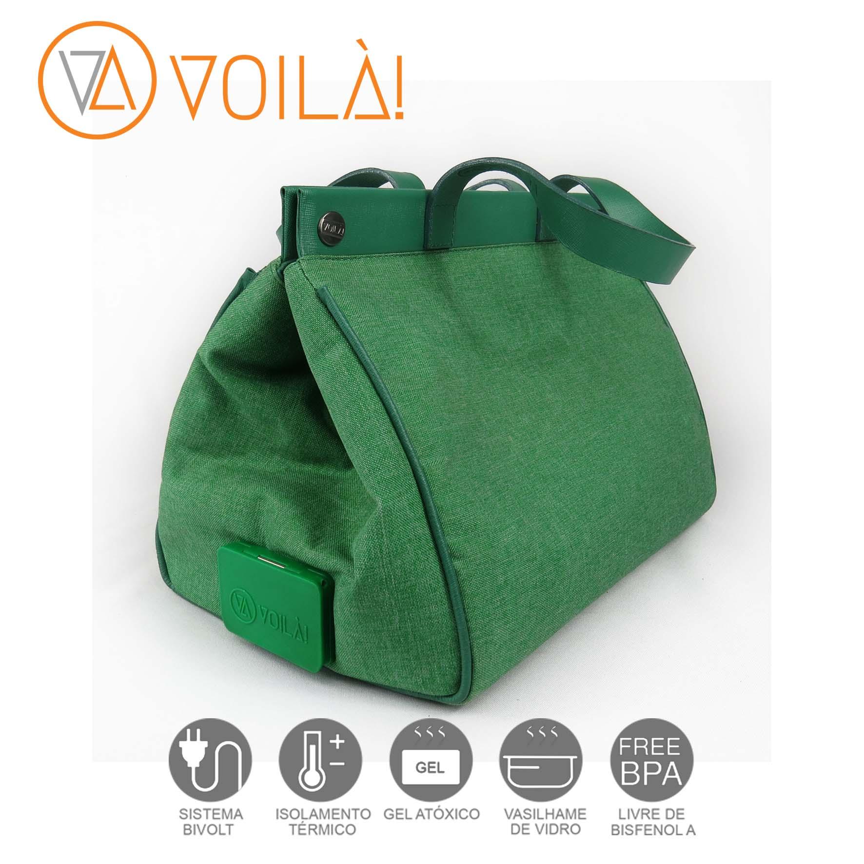 Bolsa Elétrica Voilà! Bag - Classic em Linho Importado Verde com Alças Verde