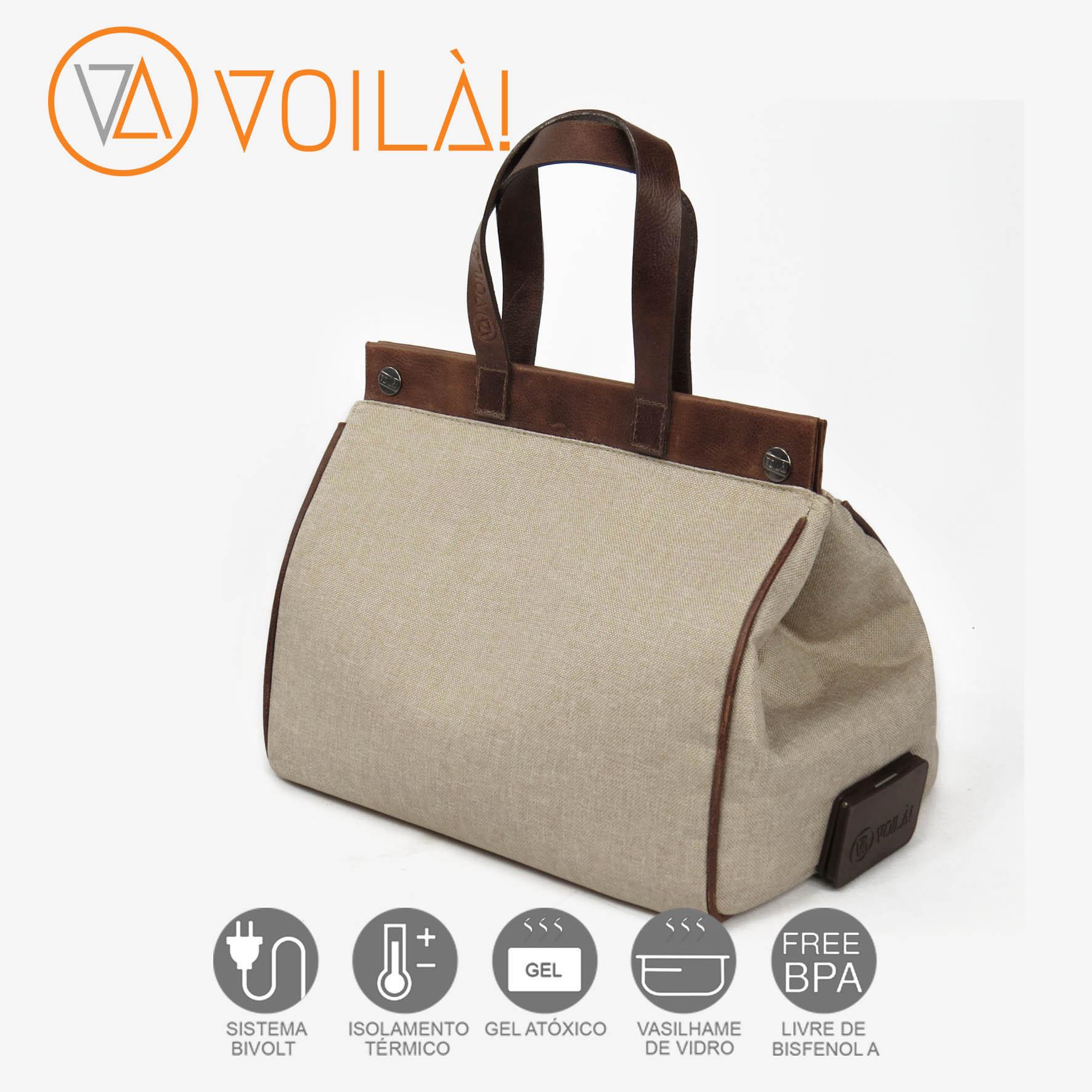 Bolsa Elétrica Voilà! Bag - Classic em Linho Natural com Alças Tabaco