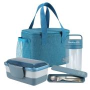 Kit Fitness Bolsa Termica, Garrafa 430 ML, Pote Marmita 2 andares 950 ML e Porta Talheres Concept Azul