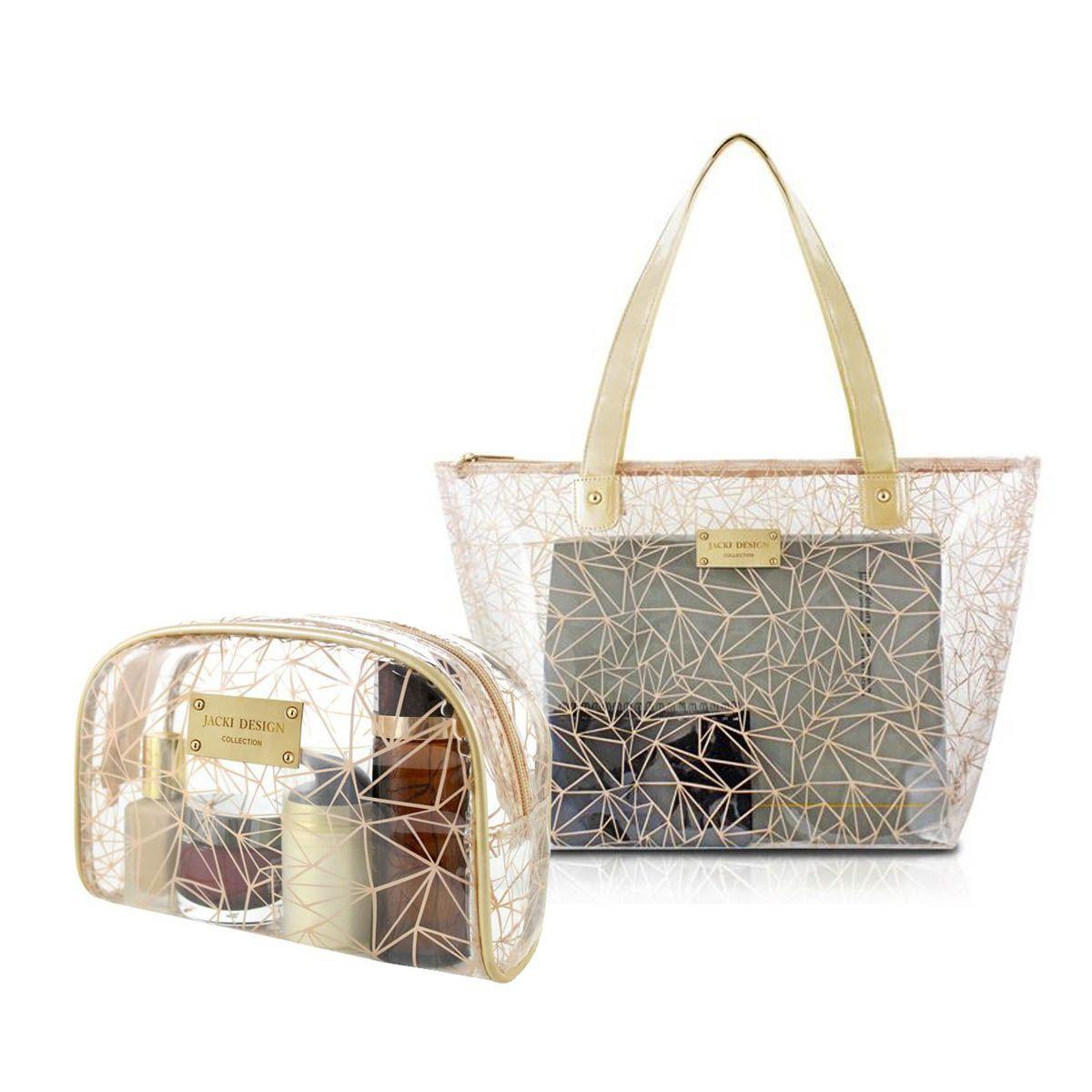 Kit Bolsa Shopper e Necessaire Transparente Bege