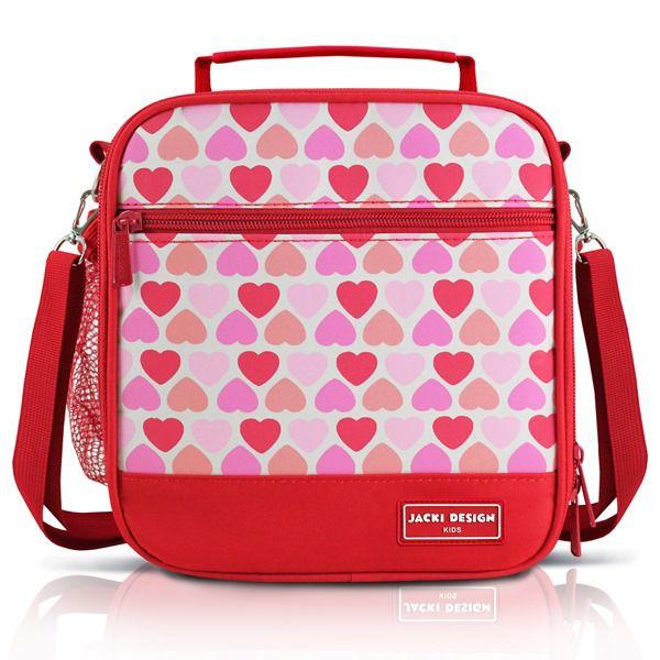 Lancheira Térmica Infantil Coração Rosa Vermelho
