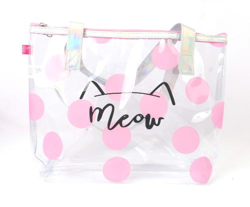 Sacola Transparente Com Bolinhas Rosas Meow