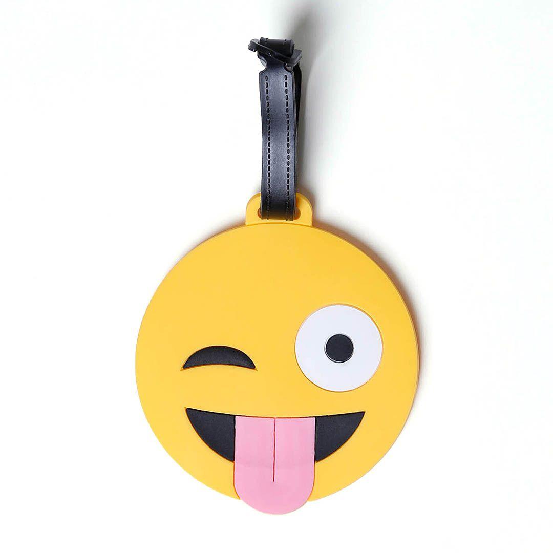Tag Identificador De Bagagem Para Malas De Viagem Emoji Língua Pra Fora