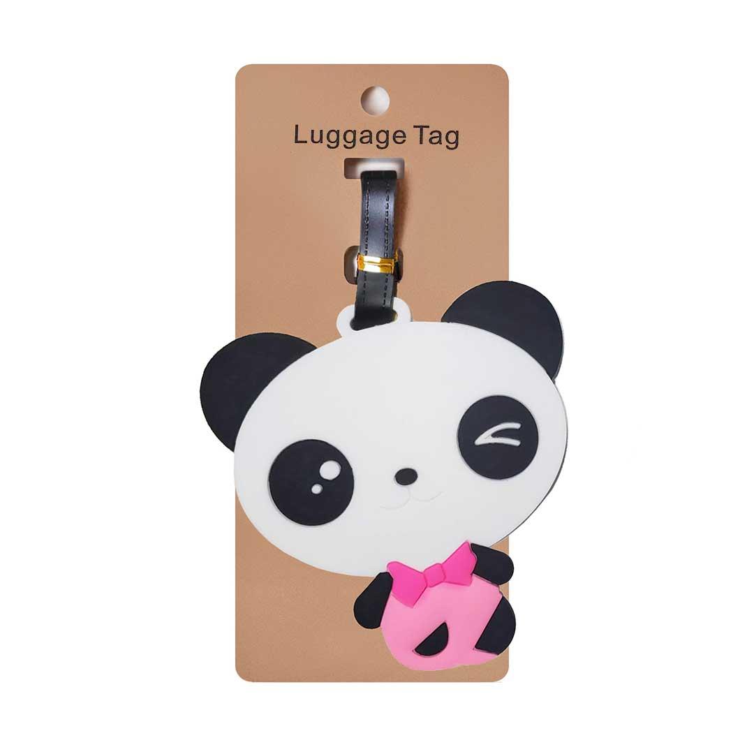 Tag Identificador de Bagagem para Malas de Viagem Panda Laço Rosa
