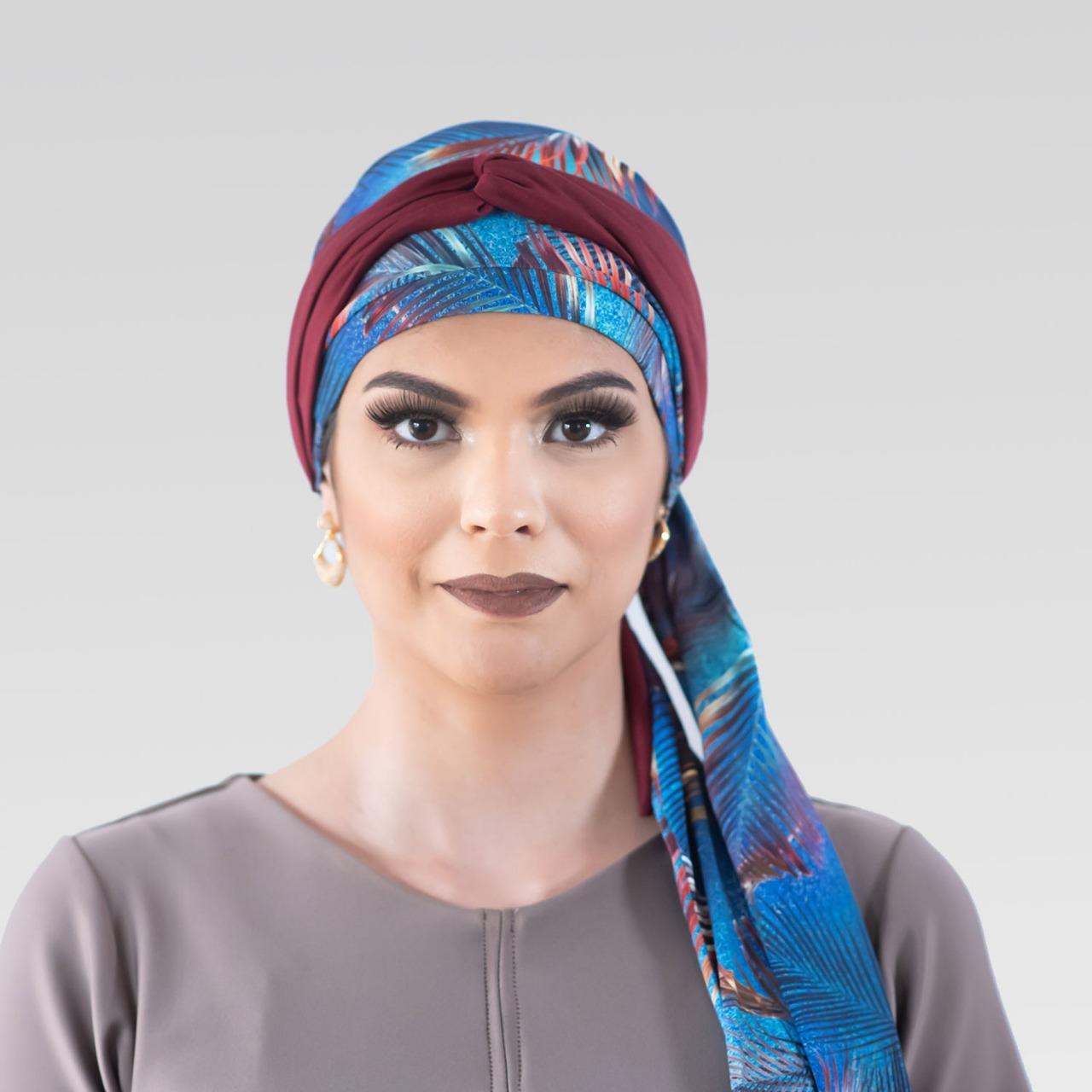 Conjunto Cold Tropical  (Turbante Estampado com Proteção UV + Tiara de Argolas)