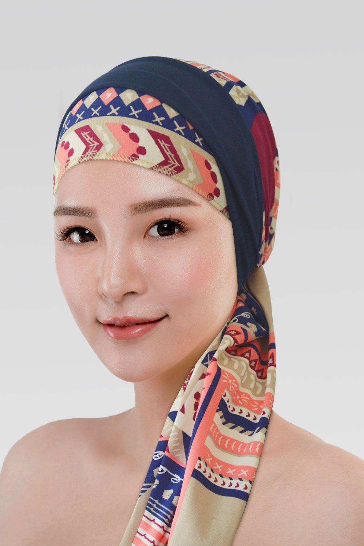 Conjunto Marsala (Turbante Estampado + Tiara Simples Azul Marinho)