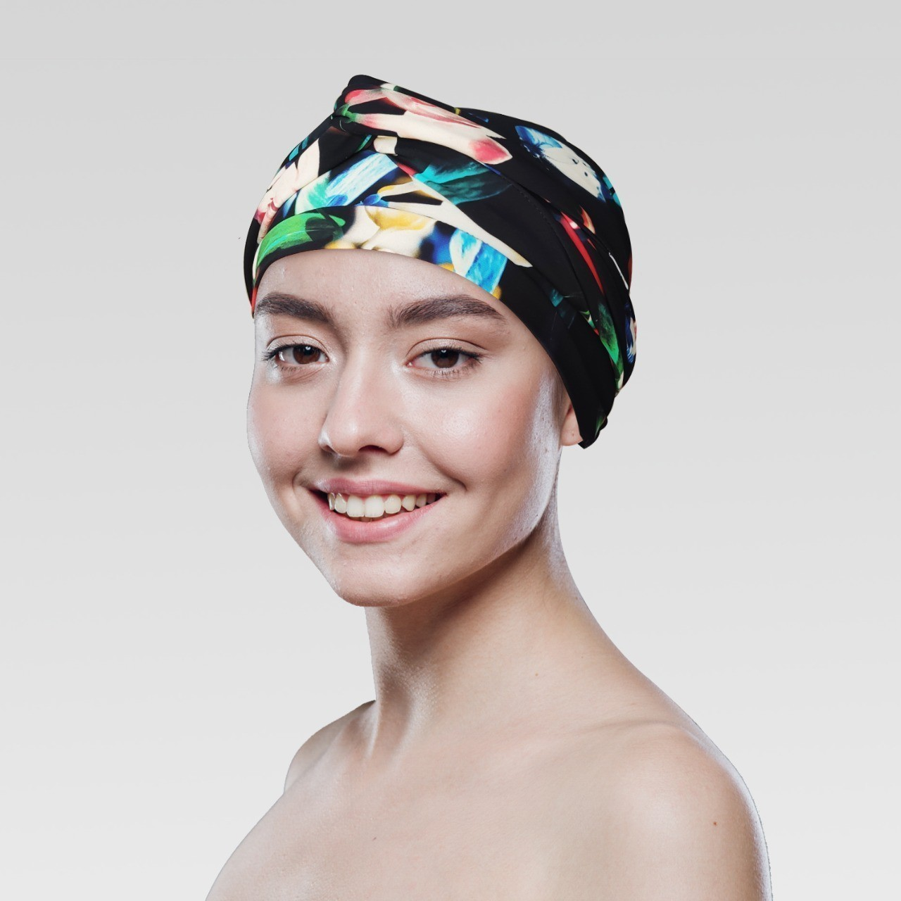 Conjunto Orquídeas (Turbantes Estampado com proteção UV+ Tiara Simples )