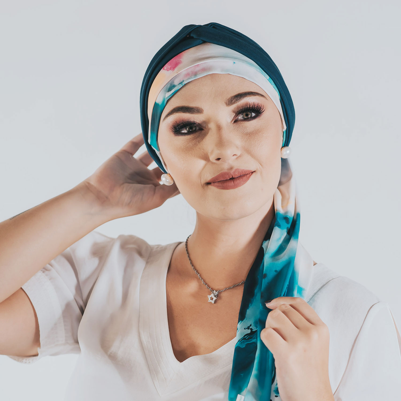 Conjunto Tie Dye (Turbante Estampado com Proteção UV + Tiara de Argolas)