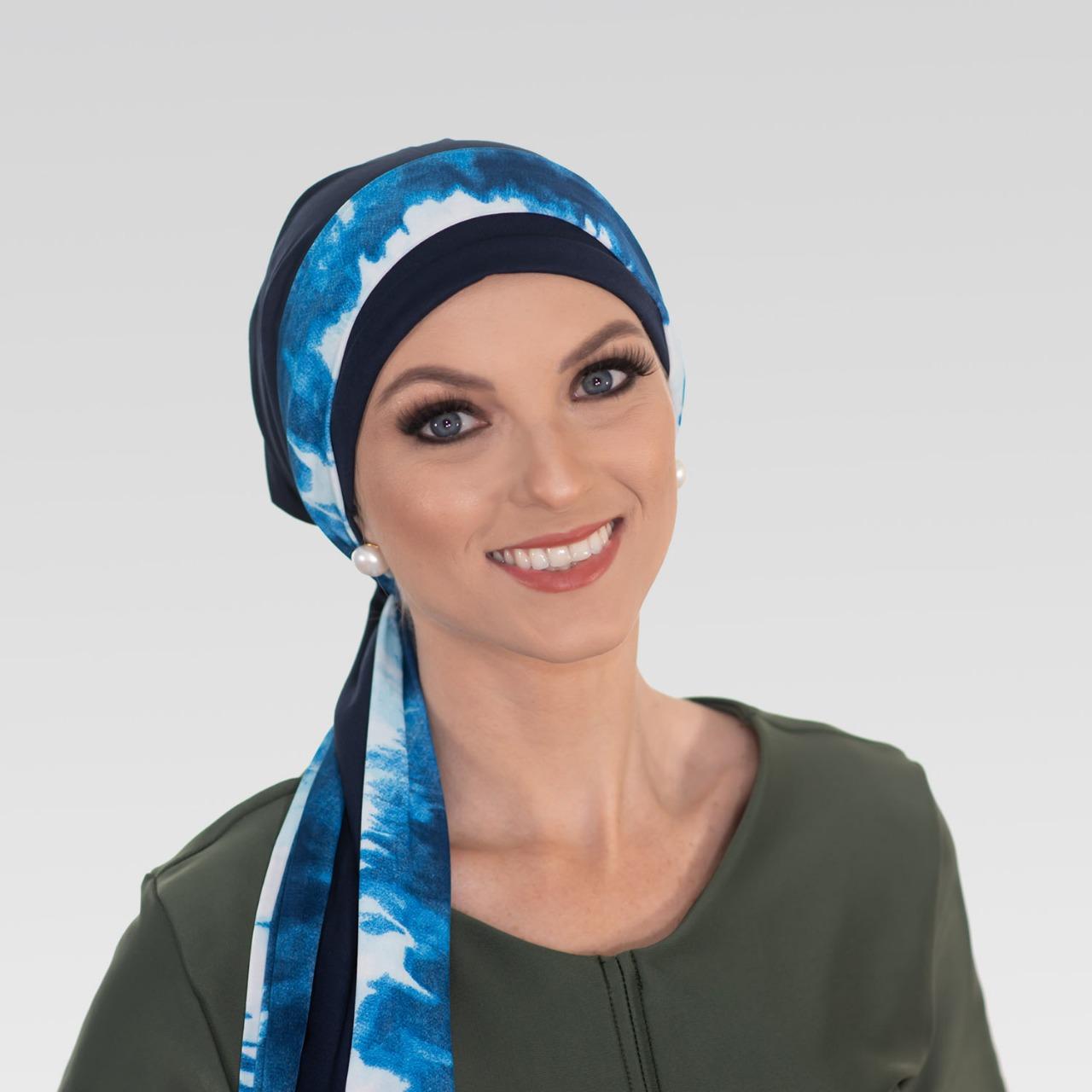 Conjunto Turbante Azul Marinho + Faixa Tie Dye