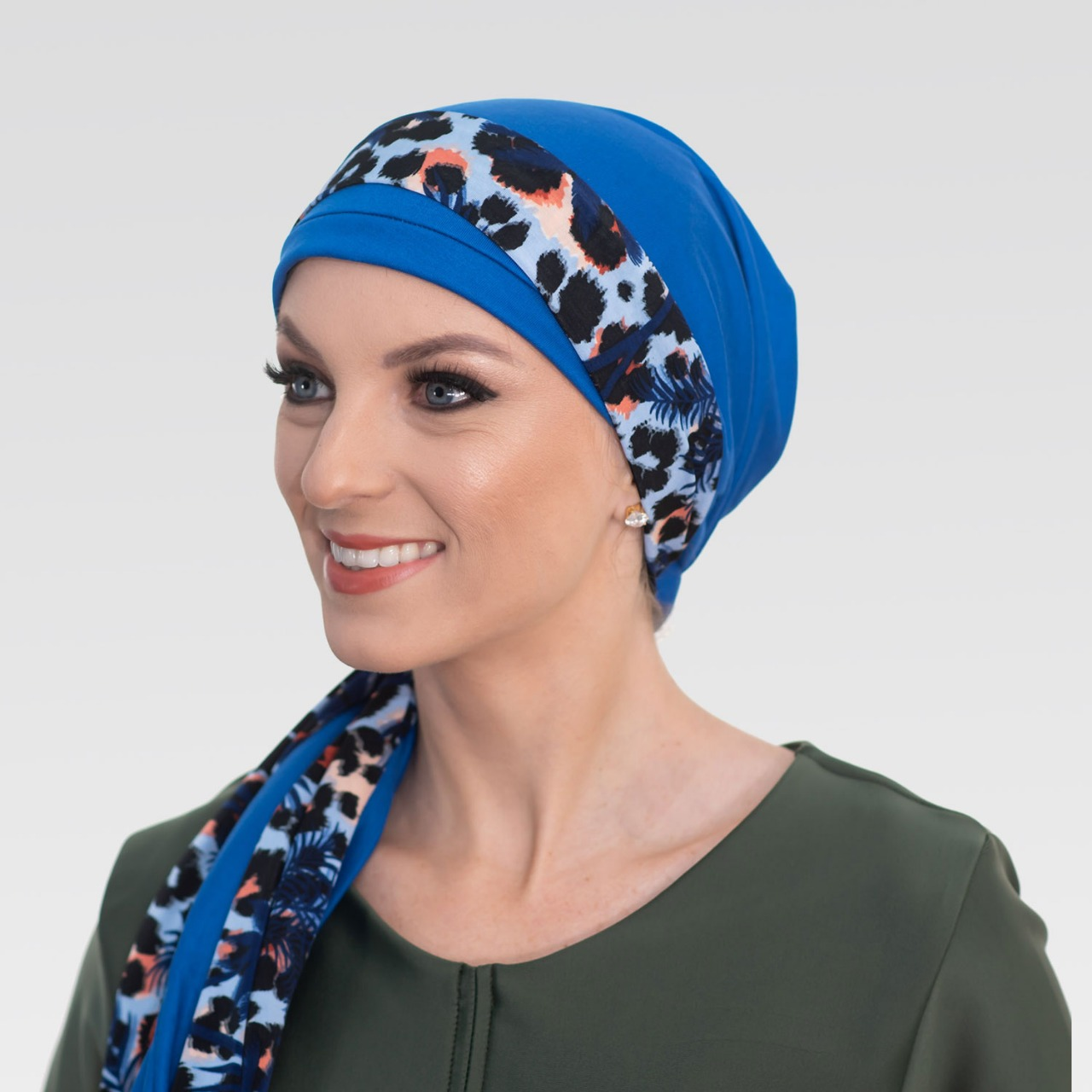Conjunto Turbante Azul Royal + Faixa