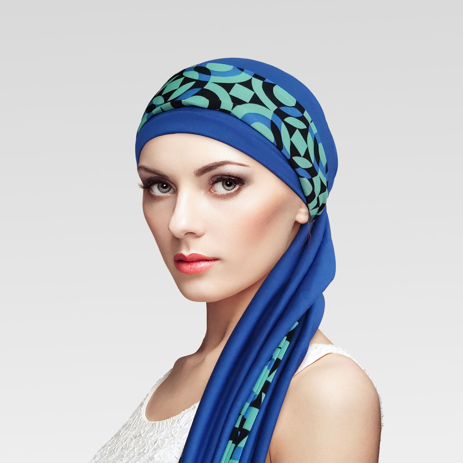 Conjunto Turbante Azul Royal + Faixa Movement