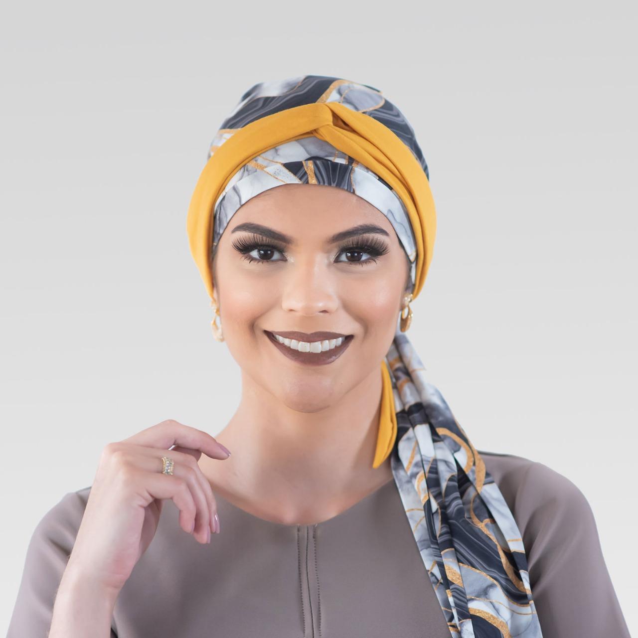 Conjunto Turbante Kintsugi (Turbante Estampado com Proteção UV + Tiara de Argola)