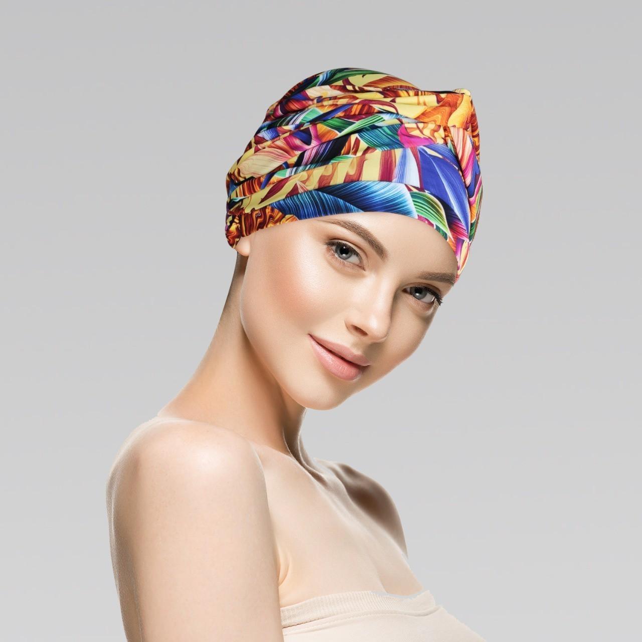 Conjunto Verão (Turbante Estampado com proteção UV+ Tiara simples Branco)