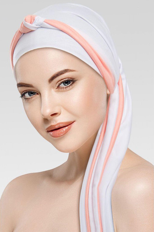 Lenço Branco + Tiara de Nó branco com cor desejada
