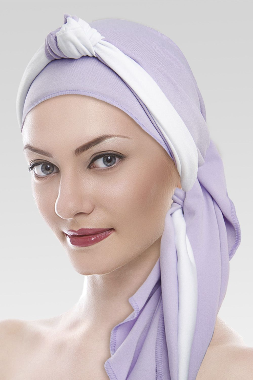 Lenço lilás + Tiara de Nó branco e lilás