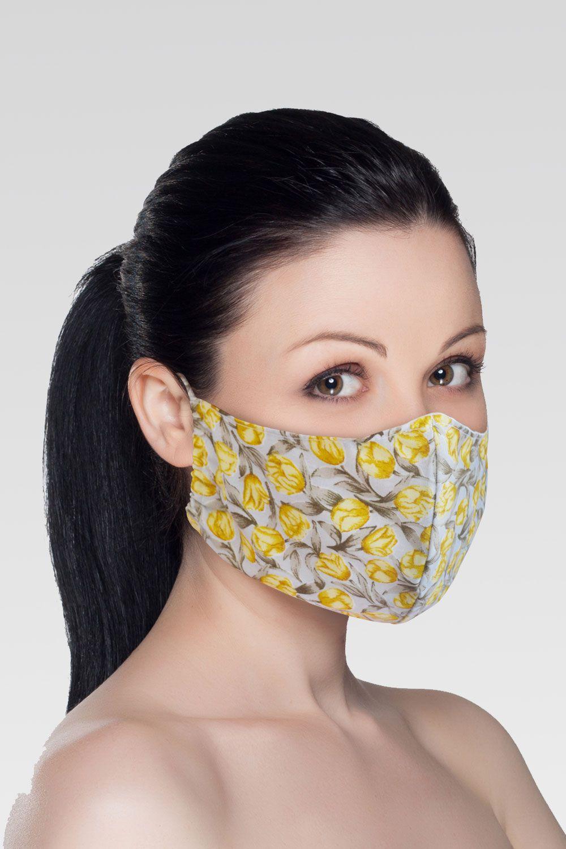 Mascara de Proteção para Imunidade - Cinza com Rosas Amarelas
