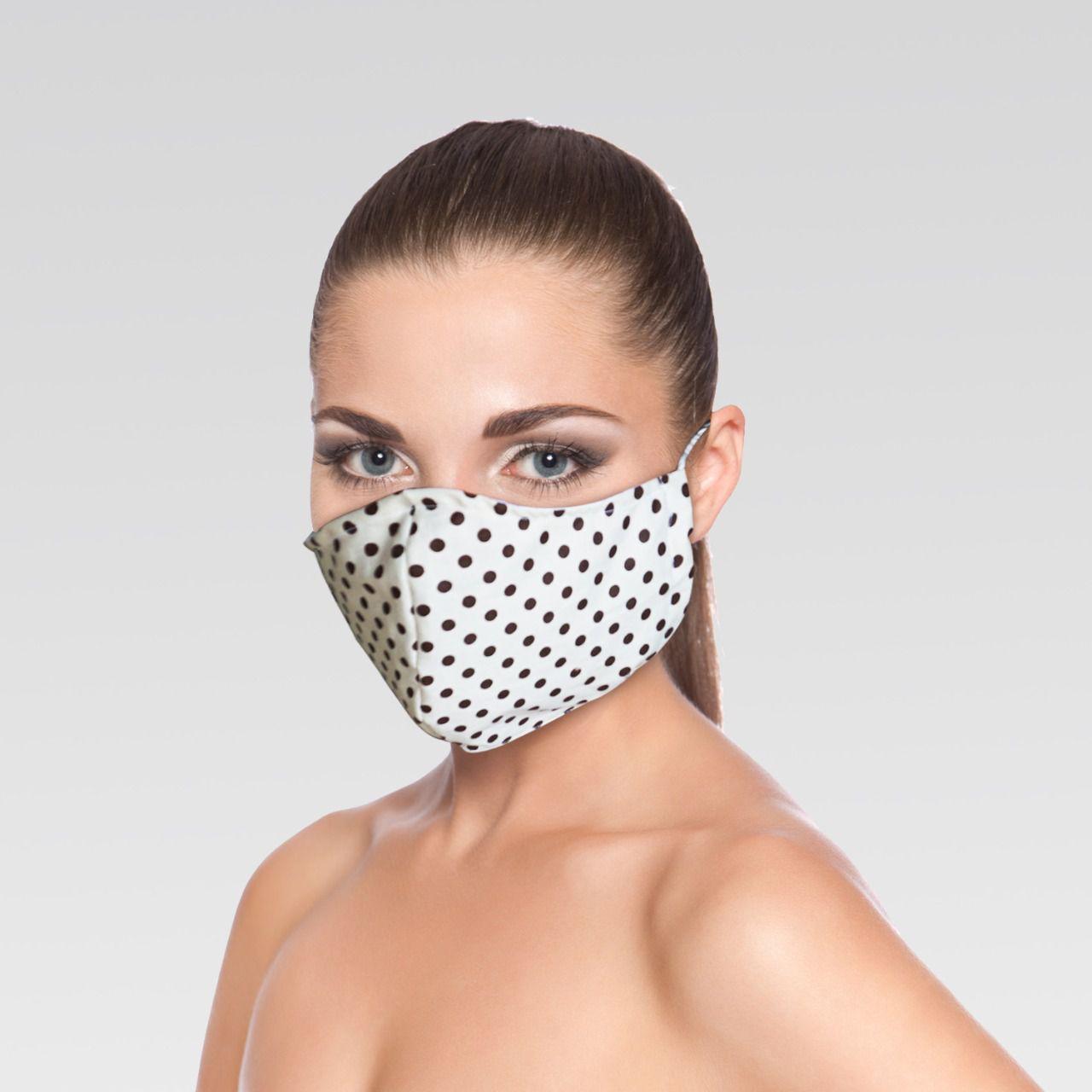 Mascara de Proteção para Imunidade - Marfim de bolinhas Marrom