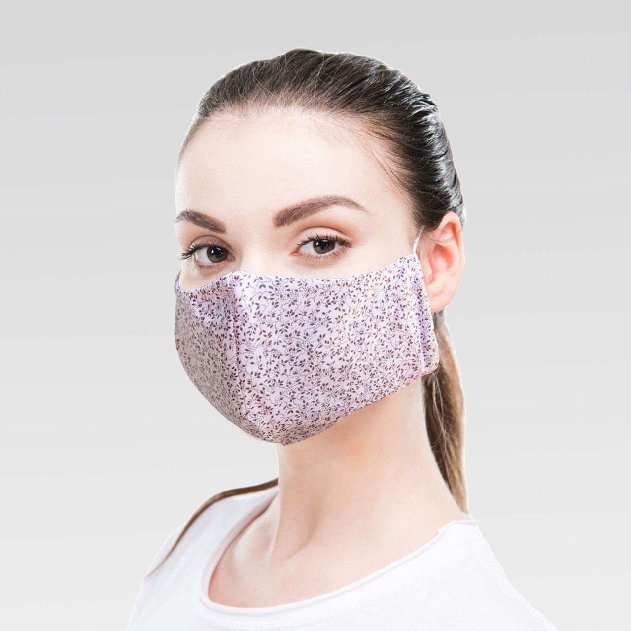 Máscara de Proteção para Imunidade - Rosinha com Flor Marrom