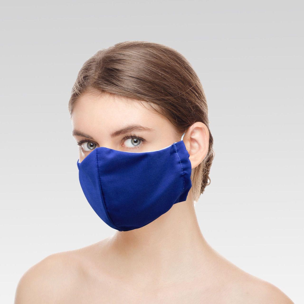 Máscara Unissex de Proteção para Imunidade - Azul Royal Lisa