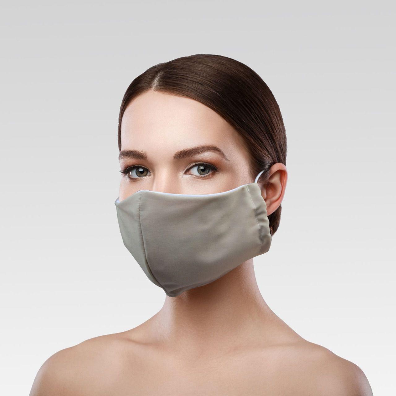 Máscara Unissex de Proteção para Imunidade - Bege Escuro Lisa