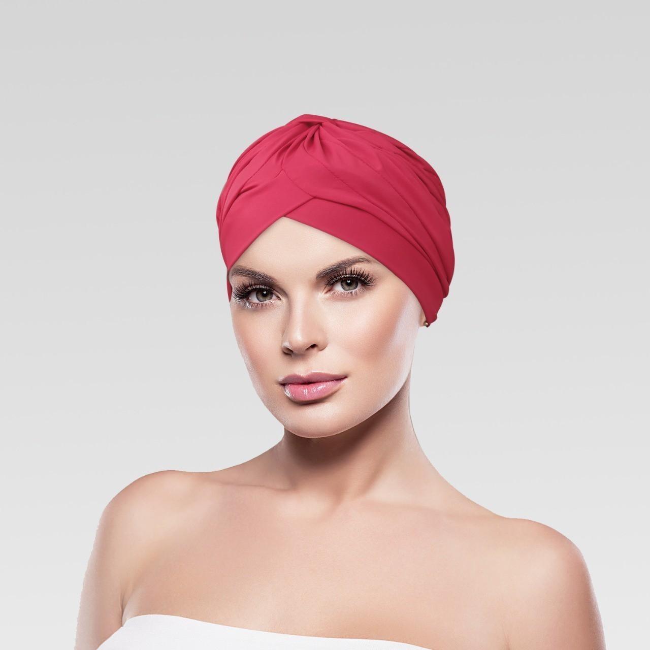 Touca Drapeada cor Lisa Vermelho com Proteção UV