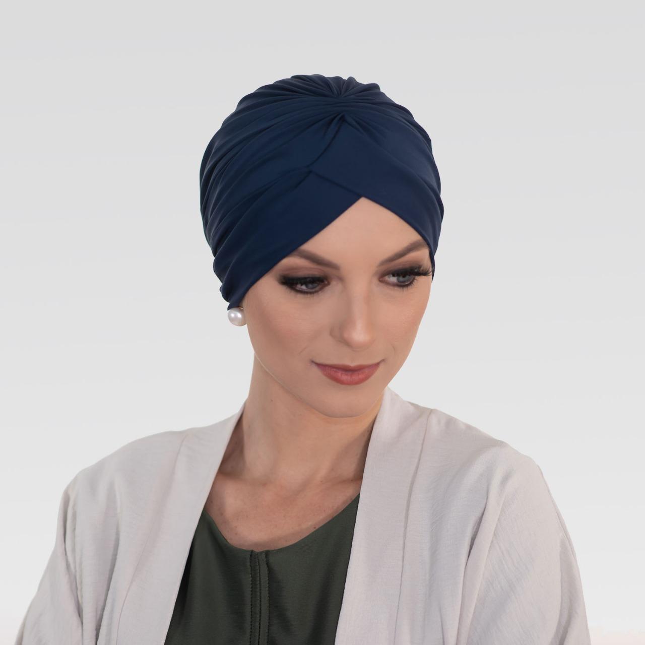 Touca Franzida Azul Marinho Com Proteção UV