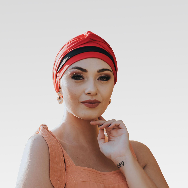 Turbante Avulso Vermelho Queimado com Proteção UV