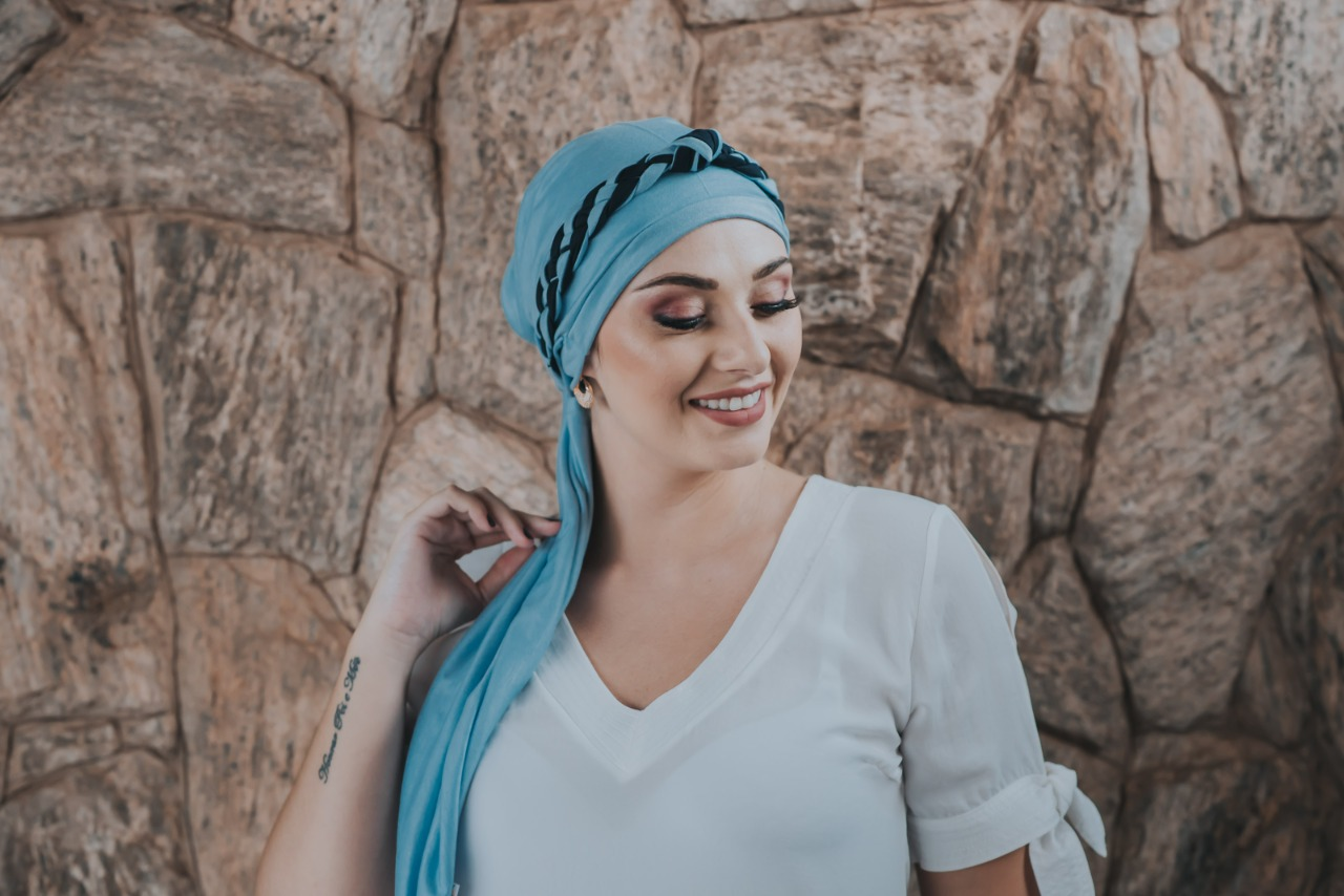 Turbante Azul Bebê + Tiara de Elos Azul Bebê e Azul Marinho