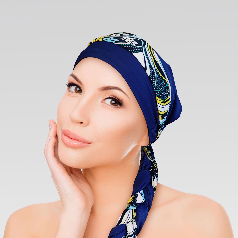 Turbante Azul com Proteção UV + Faixa Wave