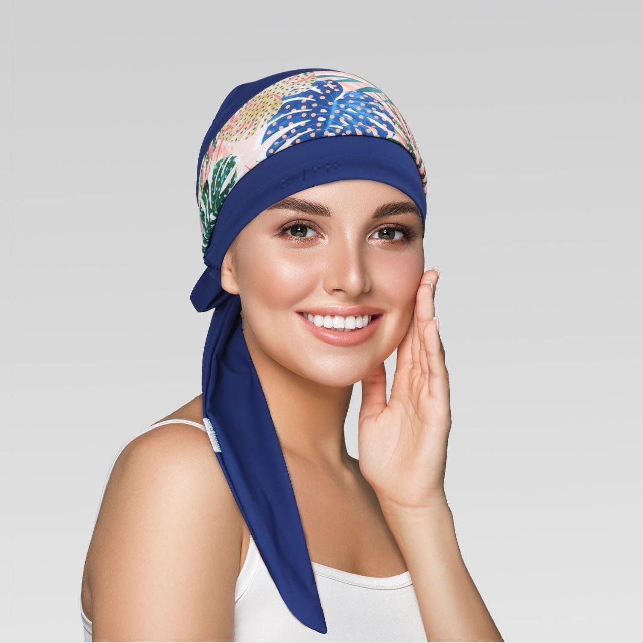 Turbante Azul com Proteção UV + Tiara Simples