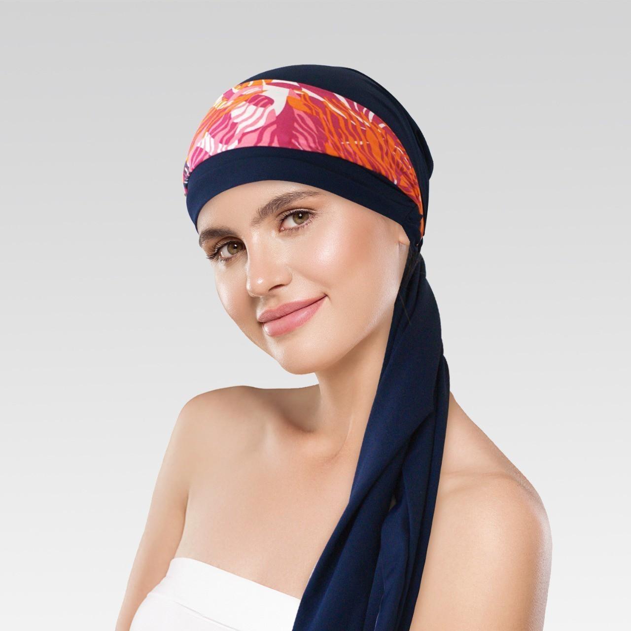 Turbante Azul Marinho com Proteção UV + Tiara Simples