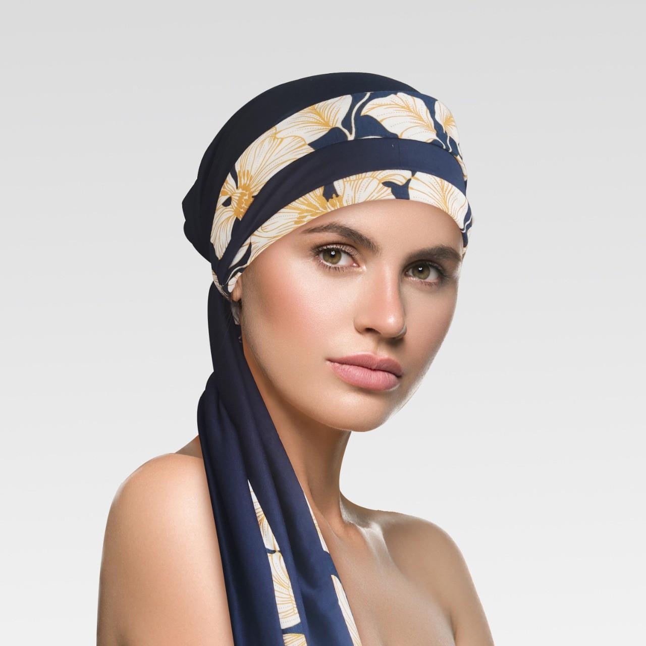 Turbante Azul Marinho com viés Fall + Tiara da mesma estampa do viés