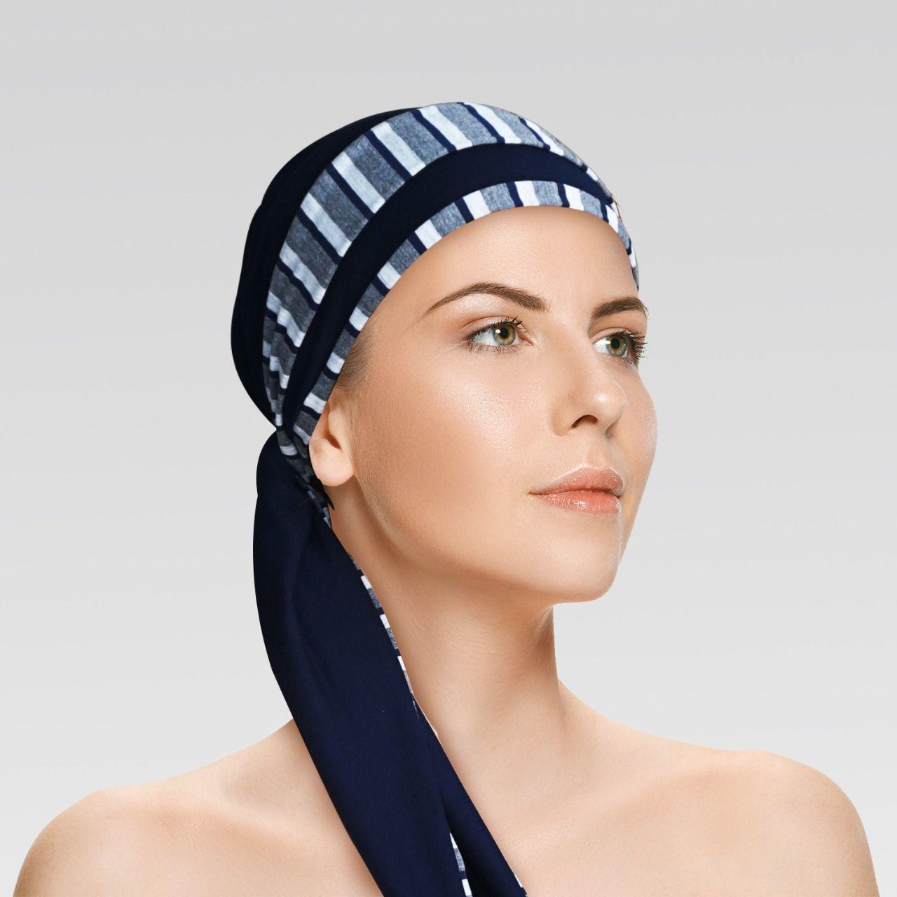 Turbante Azul Marinho com viés Listadinhos+ Tiara da mesma estampa do viés