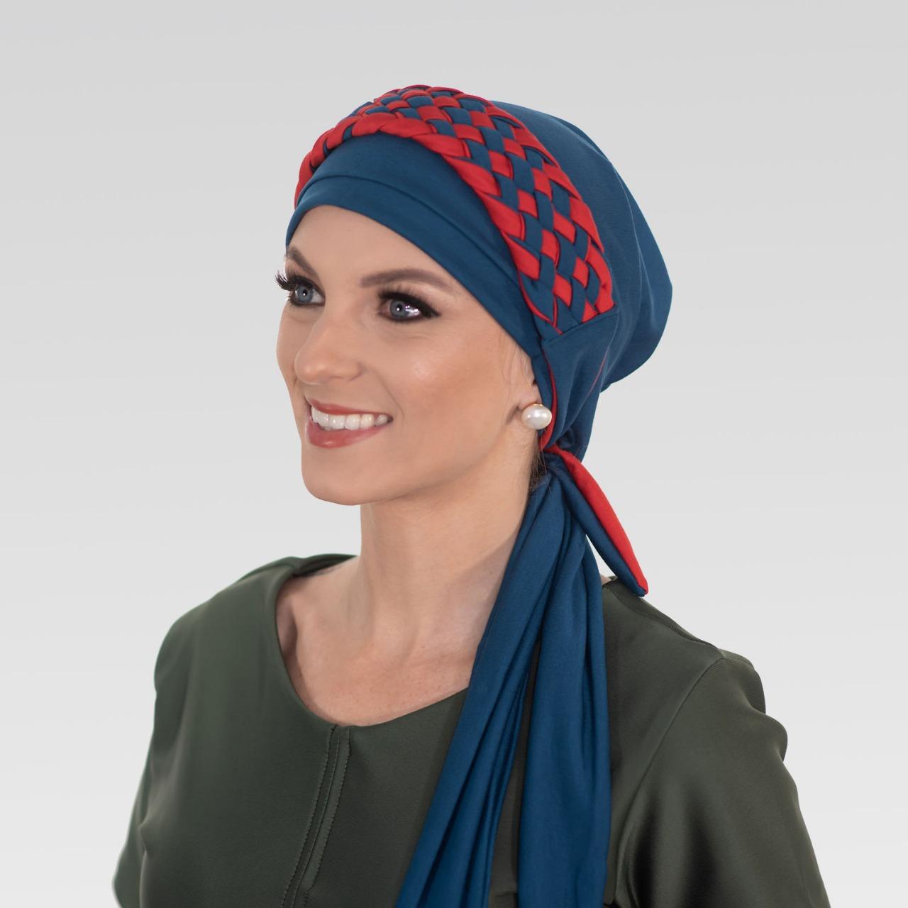 Turbante Azul Petróleo + Tiara de Trança Larga Perfeita (Duo)