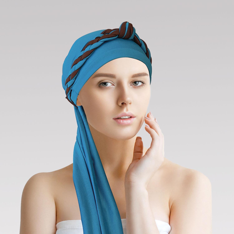 Turbante Azul Turquesa + Tiara de Elos Azul Turquesa e Marrom