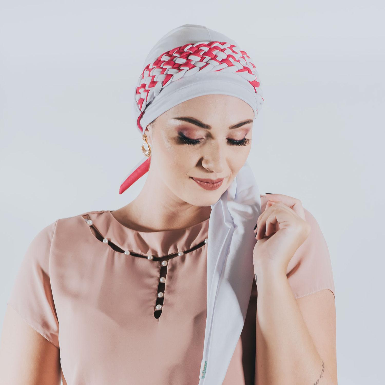 Turbante Branco + Tiara de Trança Larga Branco e Pink (Duo)