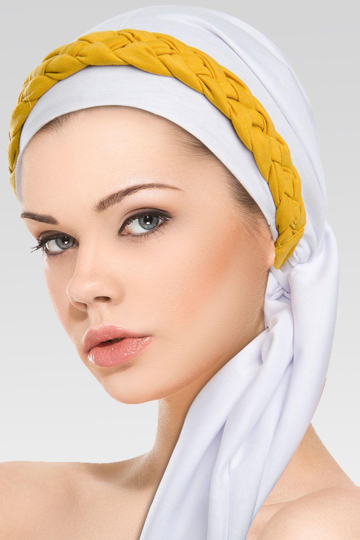 Turbante Branco + Trança Simples na cor desejada